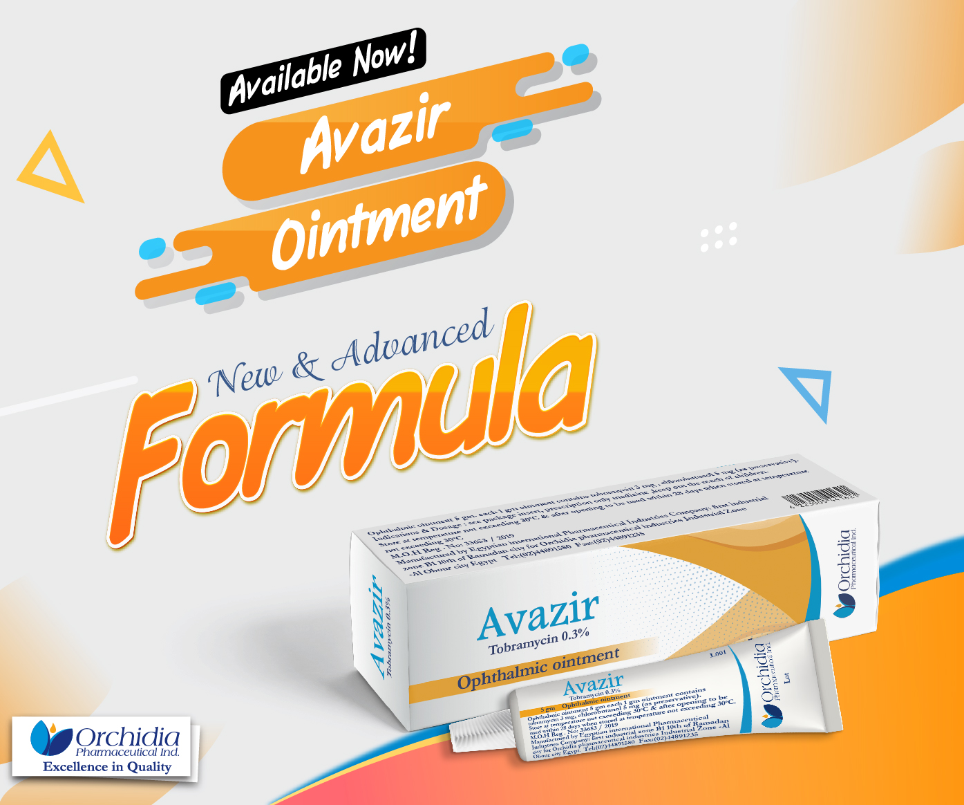 Avazir eye ointment (Tobramycin 0.3) -  the new advanced formula is available now in Egyptian market.